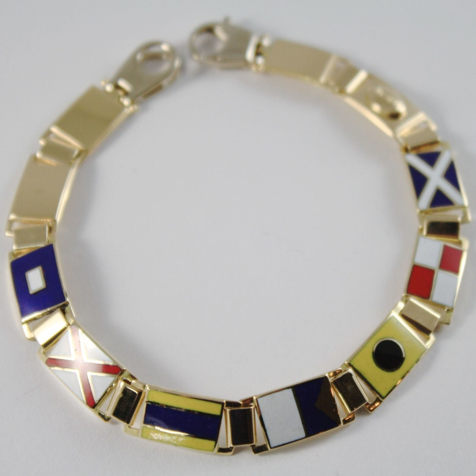 Yellow Gold Bracelet 750 18k, Nautical Flags 8 MM, Enamel, Made in Italy