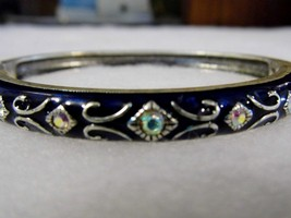 Vintage Napier Silver Tone Black Enamel Jeweled Costume Fashion Jewelry - $10.66