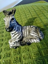 "Miniature Porcelain Zebra, Vintage Japan, Black & White. Approx: 2.5""L x 1 1/4""W image 1"