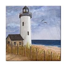 Large Ceramic Tile 6x6 Sea View 222 lighthouse art painting L.Dumas - $22.99