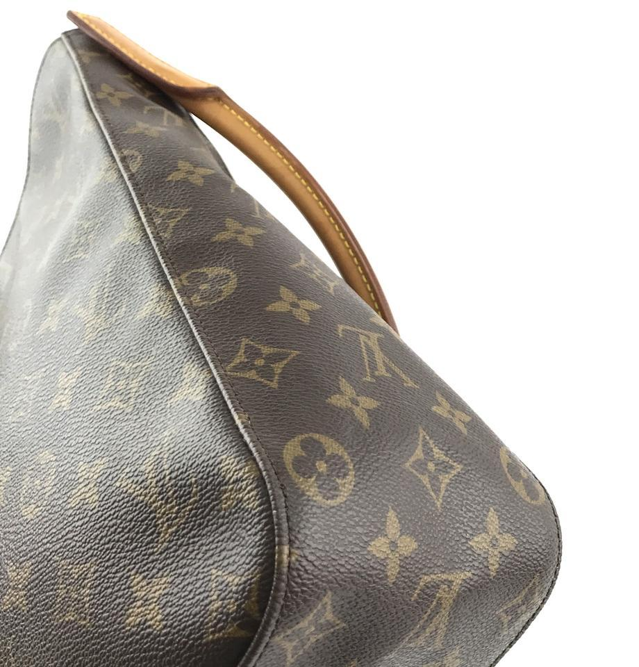 #33576 Louis Vuitton Looping Bucket Gm Tote Brown Monogram Canvas Shoulder Bag image 9