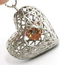 Necklace Silver 925, Heart Convex, Satin, Perforated Pendant, Chain Balls image 4