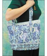 Blue Laura Quilted Tote Organizer bag 14.5x12x4 cross stitch - $25.00