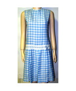 Vtg 60s sweetest little scooter dress blue plaid cotton sm MED b36 - $18.95