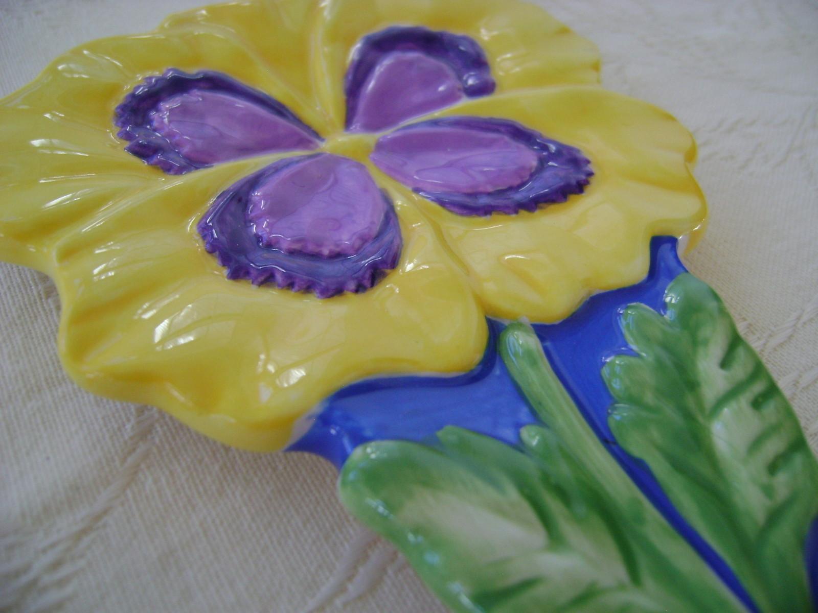 Spoon Rest, Ceramic, Pansy, Flower Daze Collection
