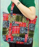 Multi Colored Laura Quilted Tote Organizer bag 14.5x12x4 cross stitch - $25.00