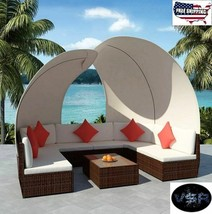 Patio Furniture Sets Clearance Outdoor Sofa Lounger Canopy Rattan Sun Sh... - $1,443.33