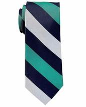 Tommy Hilfiger Bold Stripe Silk Tie Navy/Silver/Green - $64.35