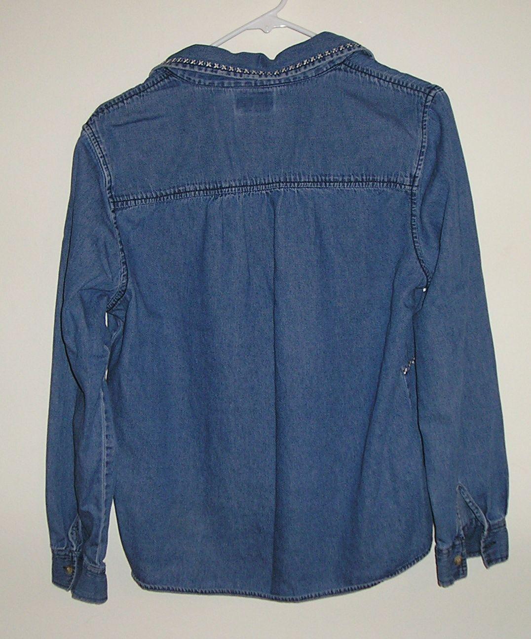 BOBBIE BROOKS Long Sleeve Women's Denim Blue Blouse Shirt Size Medium M / 8 NICE
