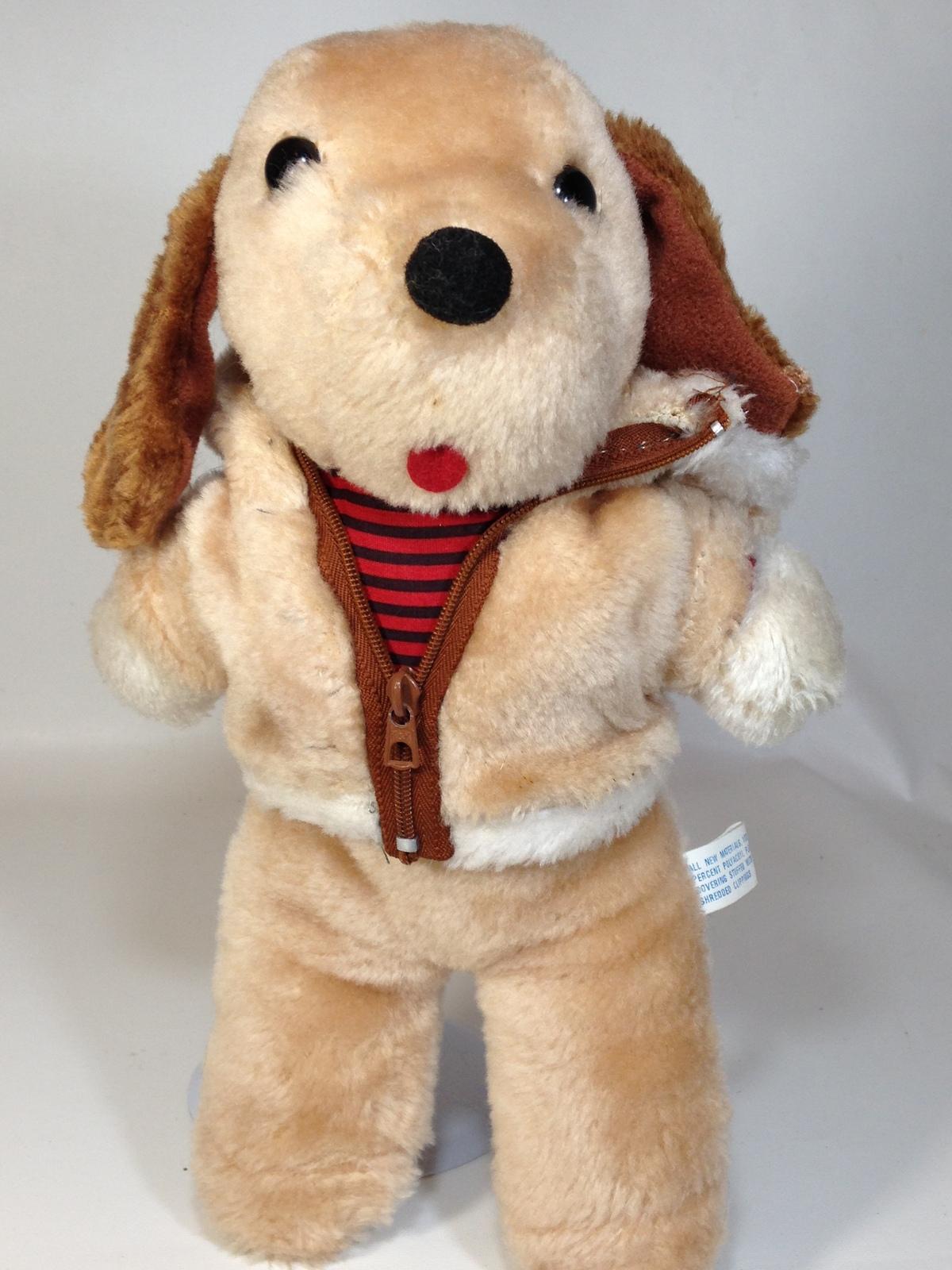 c64e7eb5aef0e6 Vintage interpur plush dog brown stuffed animal puppy zip up jacket hoodie  12 1