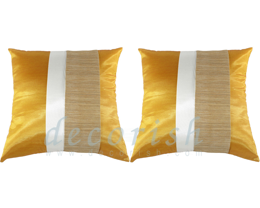 Yellow Decorative Pillows For Bed : 2x Yellow Gold Contemporary Silk Throw Decorative Pillow Cover for couch & bed - Pillows