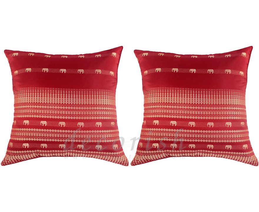 Red Throw Pillows For Bed : 2 Silk Sofa Bed RED Decorative Pillows Covers with Elephants - Pillows