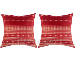 2 Silk Sofa Bed RED Decorative Pillows Covers with Elephants - $13.99