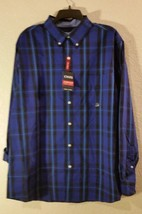 New! Mens XL XLARGE CHAPS Stretch Long Sleeve - Blue Plaid Button Up Dress Shirt - $19.75