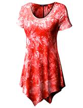 Doublju Womens Short Sleeve Scoop Neck Solid/Tie Dye Tunic Top W/ Asymmetrical - $22.67