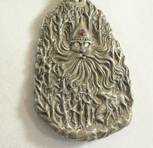 Father Frost Soul of Winter Pewter Pendant Necklace Rawcliffe Artist Signed Big  image 3
