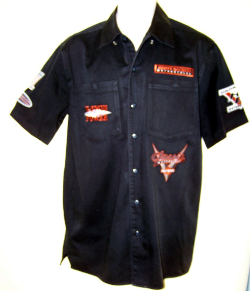 Mens cotton denim black HARLEY DAVIDSON shirt Med