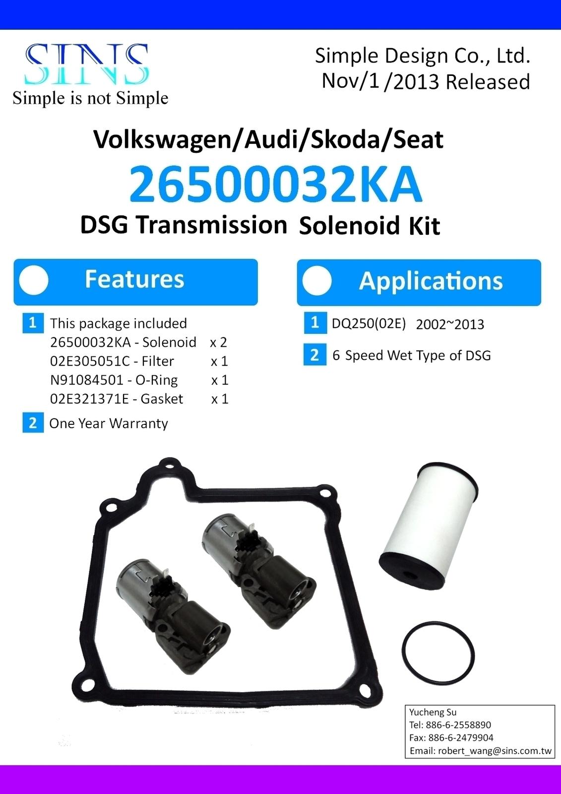 VW/Audi/Skoda/Seat DQ250 DSG Transmission Solenoid Kit-N215 N216, Filter, Gasket image 5