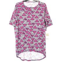 LuLaRoe Irma Minnie Mouse Shirt XXS New Disney Bows Gray Red Yellow Tria... - $15.73