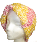 Crocheted Hat/Neck Warmer in yellow and pink - $12.00