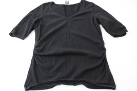 W9485 Womens ANN TAYLOR Black Silk Short Sleeve RUCHED SWEATER Vee Neck ... - €12,22 EUR
