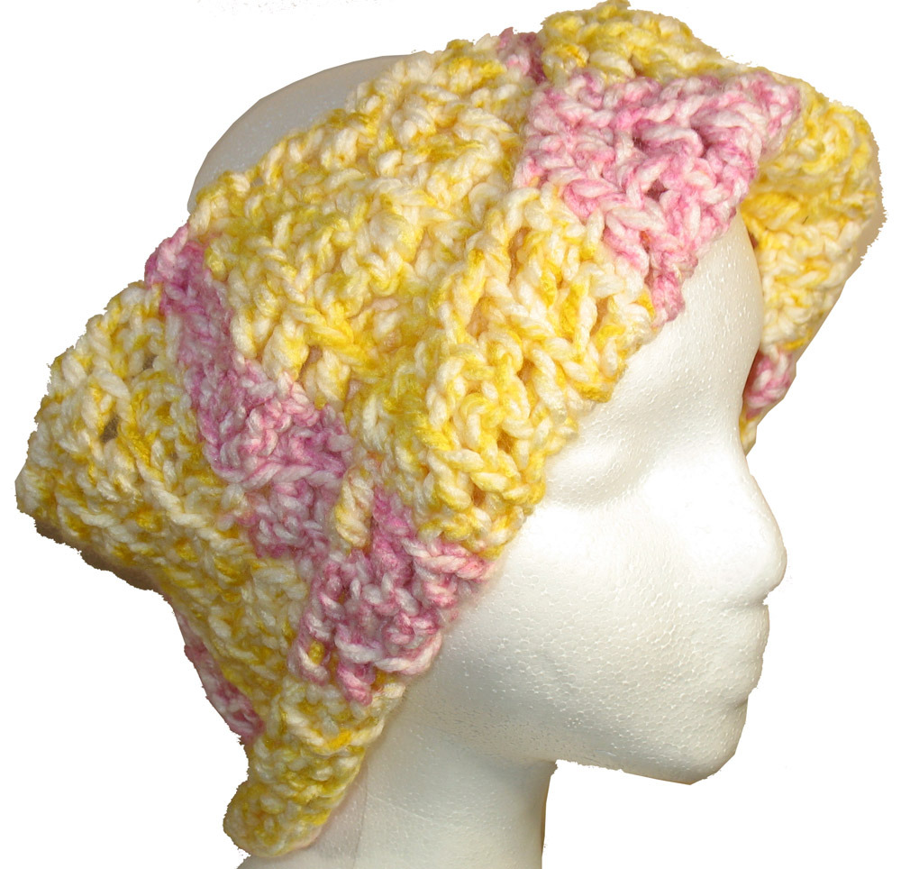 Crocheted Hat/Neck Warmer in yellow and pink