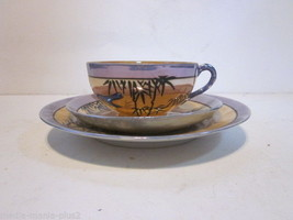 VINTAGE LUSTERWARE ORANGE & BLUE TEA CUP AND PLATES BLUE BIRD IN BAMBOO ... - $9.99