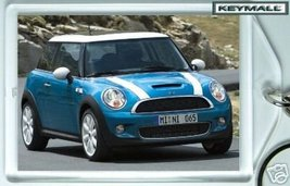 KEY CHAIN BLUE WHITE TOP STRIPE MINI COOPER KEYTAG RING - $9.95