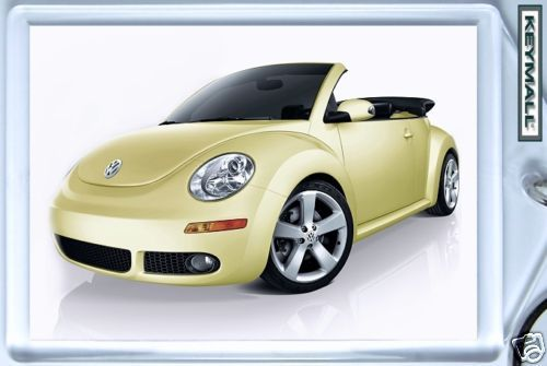 KEYTAG BEIGE/YELLOW VW NEW BEETLE CONVERTIBLE KEY CHAIN