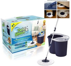 Bundle award winning spin bucket & 2 microfiber Twist and Shout Mop clea... - $64.50