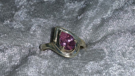 Vintage pink Ice stone Sterling silver ring Downton Abbey size 7.5 - $40.00