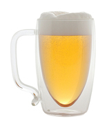 Glass Beer Mug Dual Handled Serving Glassware Unique Design - $29.72