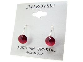 .925 Sterling Silver & Swarovski Crystal Dangle Earrings: Ruby Red - $12.99