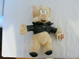 """LOONEY TUNES 1995 PORKY PIG 11"""" ACE NOVELTY FAUX LEATHER JACKET W TAGS H... - $4.94"""