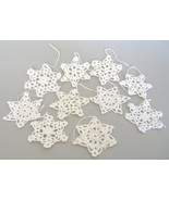 White Crochet Snowflakes Christmas Tree Ornaments Decorations Set of 10 - $15.00