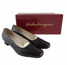 Vintage Salvatore Ferragamo Boutique Women's Shoes Two Toned Black Pumps... - $55.78