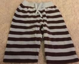 Gymboree Boys Light Blue Brown Striped Velour Pants 0-3 Months - $4.50