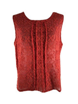 Chelsea28 Women's Coral Red Sleeveless Pleated Lace Blouse Size Medium - $14.85