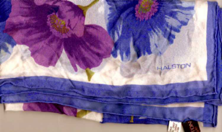 Halston periwinkle orchid silk scarf 1