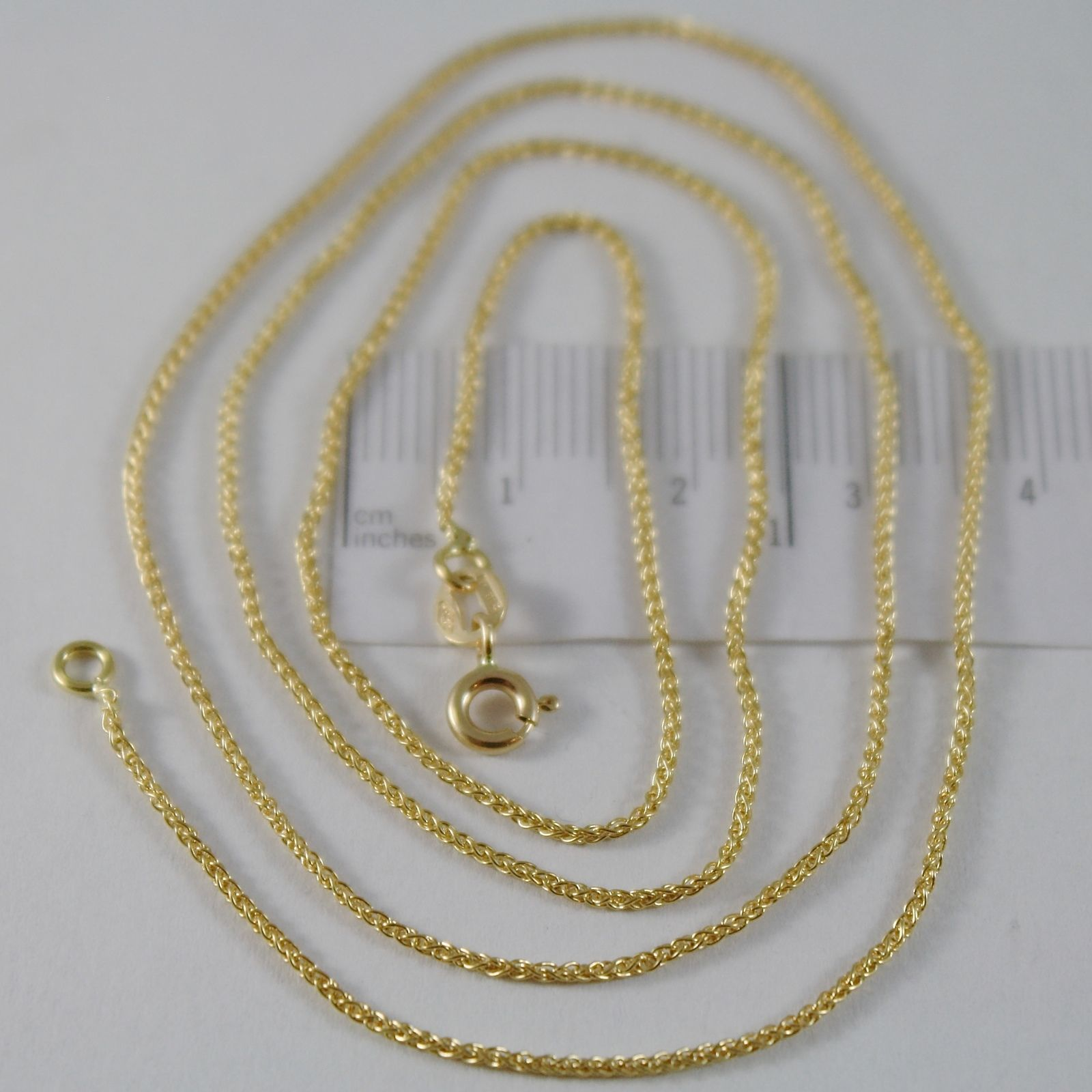 SOLID 18K YELLOW GOLD SPIGA WHEAT EAR CHAIN 18 INCHES, 1.2 MM, MADE IN ITALY