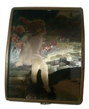 "Vintage Enesco Brass and Glass Angel Jewelry Trinket Box 3 ""x 3 ""x 1.25"" - $16.82"