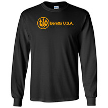 Beretta Script USA Orange Logo Long Sleeve Shirt 2nd Amendment Pro Gun Tee Rifle - $22.49+