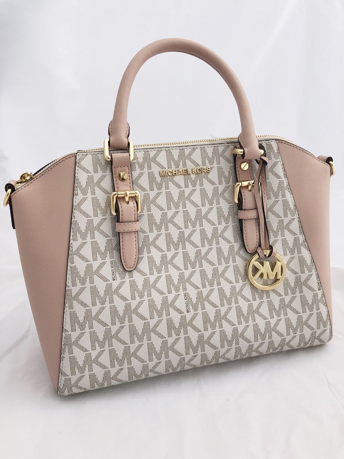 944d5c305dbe NWT Michael Kors Ciara Large Top Zip Satchel Vanilla Signature MK Ballet  Pink