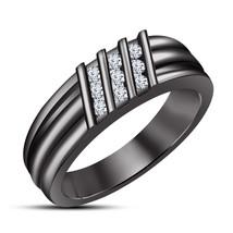 14k Black Gold Finish 925 Sterling Silver Mens Wedding Anniversary Diamo... - $92.99