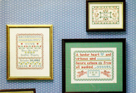 CROSS STITCH 9 TRADITIONAL KEEPSAKE SAMPLERS  - $3.50