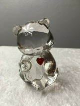 Fenton Birthday Bear January Red Color Heart Paperweight - $26.58
