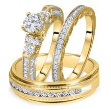 1 1/2 Ct T.W. Round Diamond Matching Trio Wedding Ring Set 14K Yellow Gold Over - $158.38