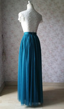 Floor Length Tulle Skirt High Waisted Wedding Bridesmaid Separate Deep Green image 4