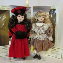 "2 Seymour Mann 16"" Connoisseur Collection Porcelain Dolls ""Jeanine"" ""Marla"" MIB - $23.74"