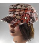 Woman's Dusty Rose Cream Plaid Newsboy Cap Hat w Zipper, Flower Pin Flou... - $27.75